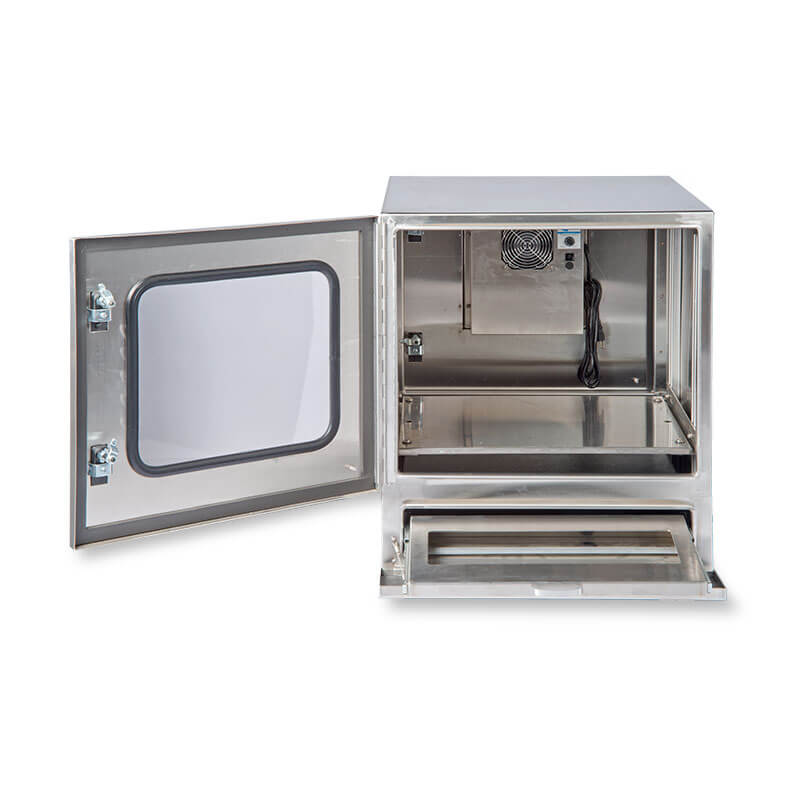 "Protector™ Workstation Series 30"" Air Conditioned Enclosure - Front View, Door Open"