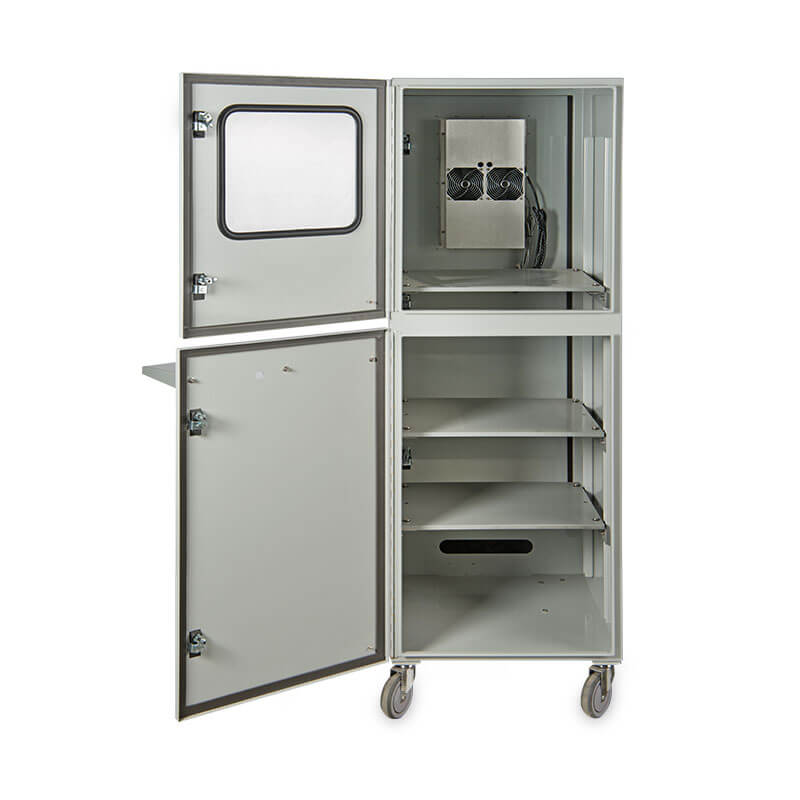 "Protector™ Workstation Series 70"" Air Conditioned Enclosure - Front View, Door Open"