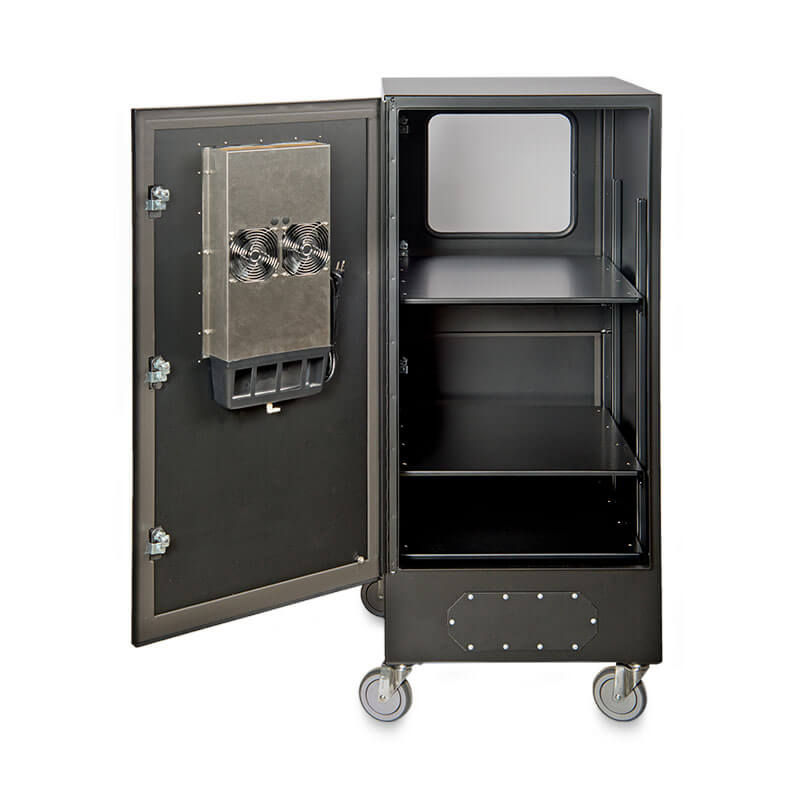 "Protector™ Workstation Series 54"" Air Conditioned Enclosure - Rear View, Door Open"